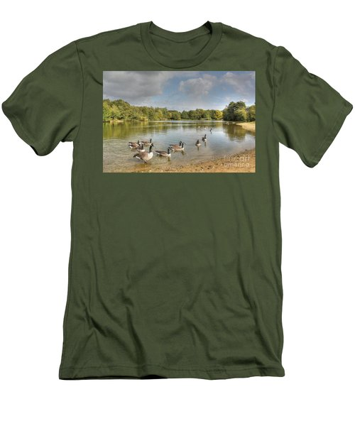 Geese On The Lake Hdr Men's T-Shirt (Athletic Fit)