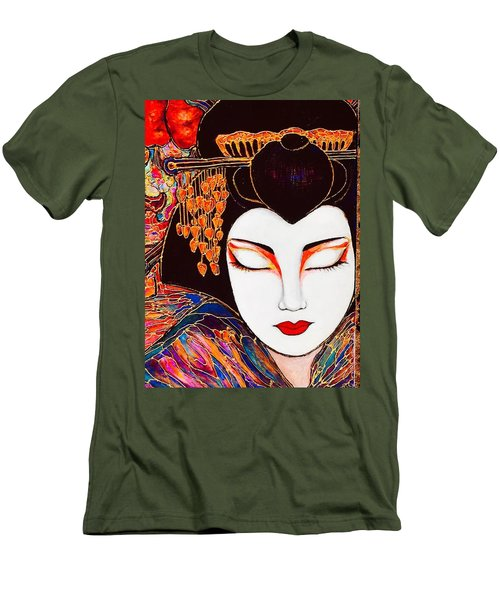 Men's T-Shirt (Slim Fit) featuring the painting Geisha by Rae Chichilnitsky