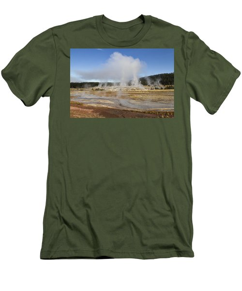 Gently Steaming Men's T-Shirt (Slim Fit) by Shirley Mitchell