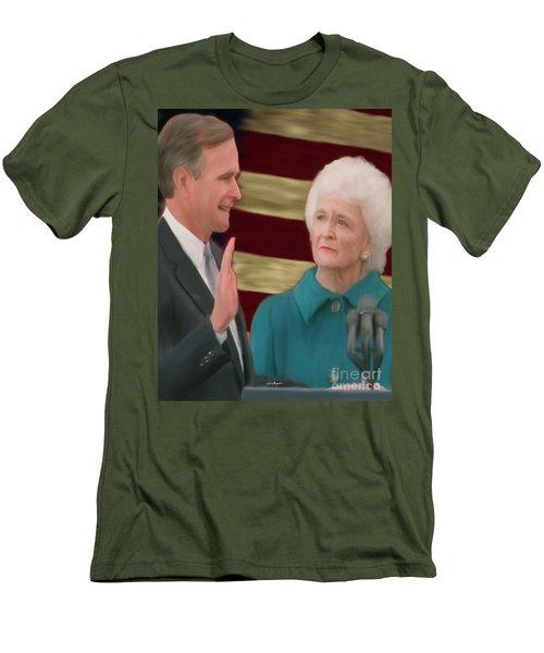 George Hw Bush Inauguration  Men's T-Shirt (Slim Fit) by Jack Bunds
