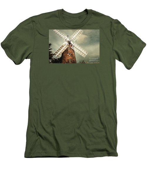 Men's T-Shirt (Athletic Fit) featuring the photograph Georgian Stone Windmill  by Jorgo Photography - Wall Art Gallery