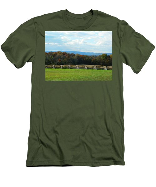 Men's T-Shirt (Slim Fit) featuring the photograph Gettysburg Battlefield And Beyond by Emmy Marie Vickers