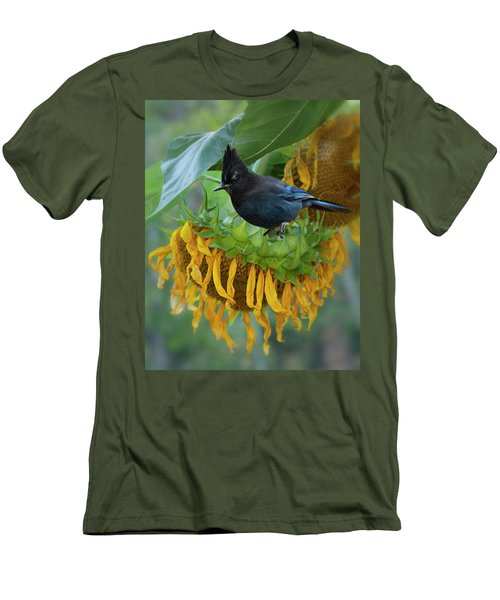 Giant Sunflower With Jay Men's T-Shirt (Athletic Fit)