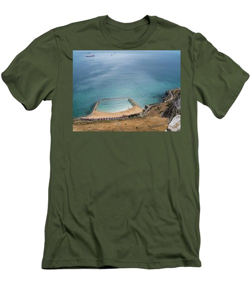 Gibraltar Rock View To The Beach Men's T-Shirt (Athletic Fit)