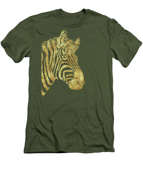 Gilt Zebra, African Wildlife, Wild Animal In Painted Gold Men's T-Shirt (Slim Fit) by Tina Lavoie