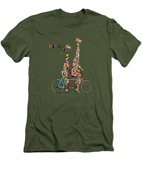 Men's T-Shirt (Slim Fit) featuring the painting Giraffe Days Lets Tandem by Bri B