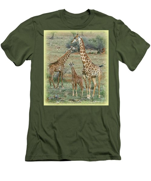 Men's T-Shirt (Slim Fit) featuring the photograph Giraffe Family by Myrna Bradshaw