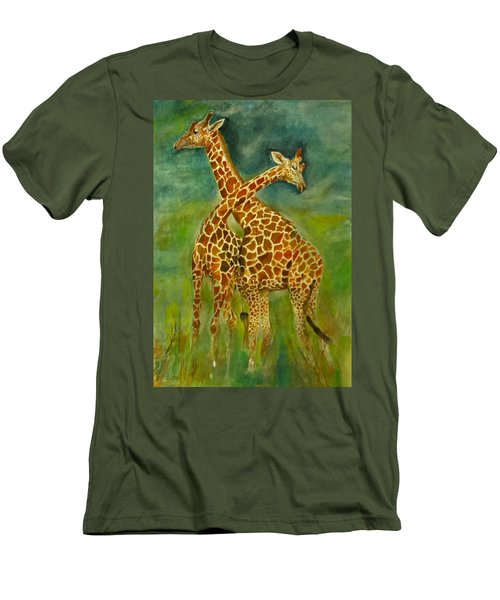 Lovely Giraffe . Men's T-Shirt (Slim Fit) by Khalid Saeed