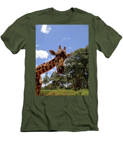 Giraffe Getting Personal 4 Men's T-Shirt (Athletic Fit)