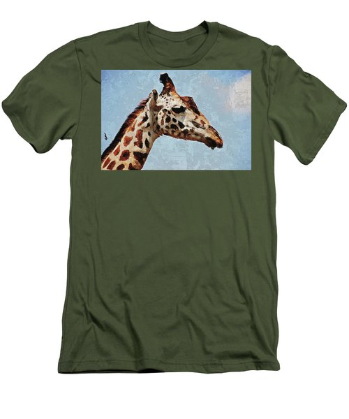 Men's T-Shirt (Athletic Fit) featuring the digital art Giraffe Safari  by PixBreak Art