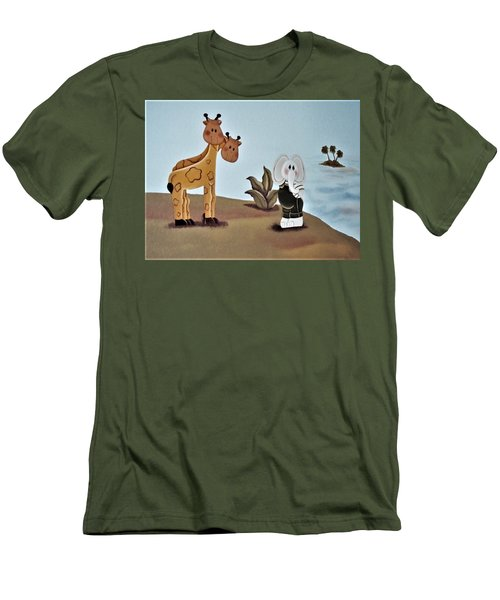 Giraffes, Elephants And Palm Trees Men's T-Shirt (Athletic Fit)