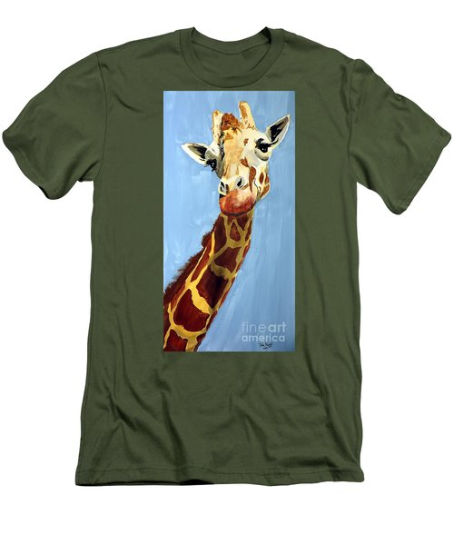 Men's T-Shirt (Slim Fit) featuring the painting Girard Giraffe by Tom Riggs