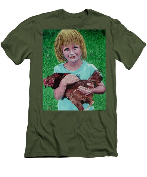 Girl And Chicken Men's T-Shirt (Slim Fit) by Stan Hamilton