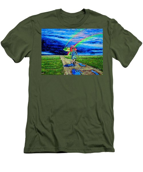 Men's T-Shirt (Slim Fit) featuring the painting Girl And Puddle by Viktor Lazarev