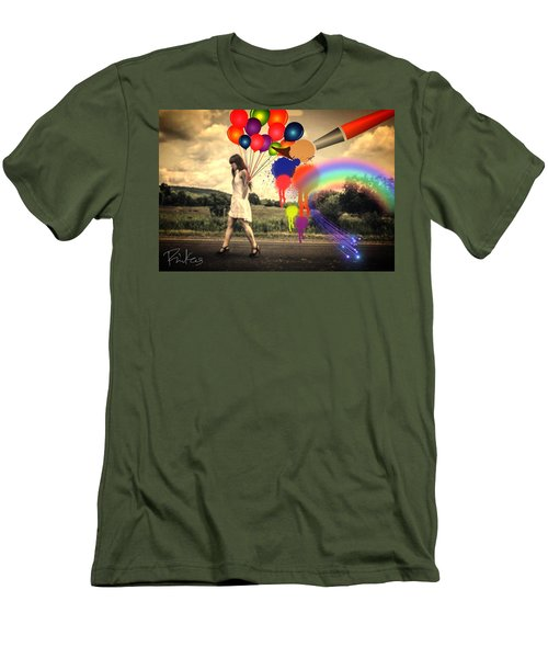 Girl Walking With Balloons #2 Men's T-Shirt (Slim Fit) by Diana Riukas