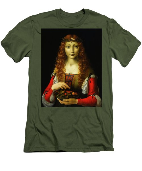 Men's T-Shirt (Slim Fit) featuring the painting Girl With Cherries by Giovanni De Predis