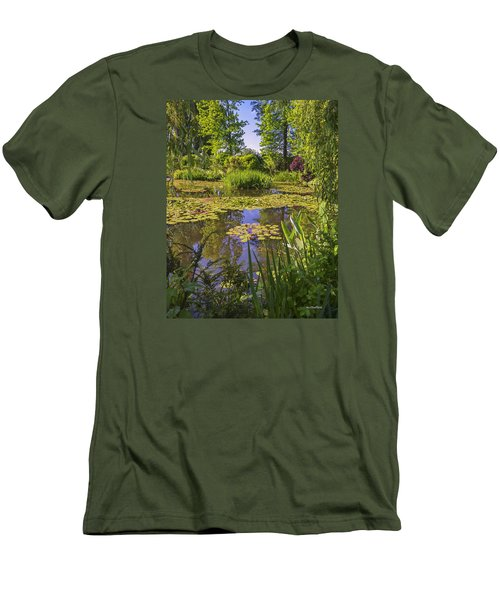 Men's T-Shirt (Slim Fit) featuring the photograph Giverny France - Claude Monet's Pond  by Allen Sheffield
