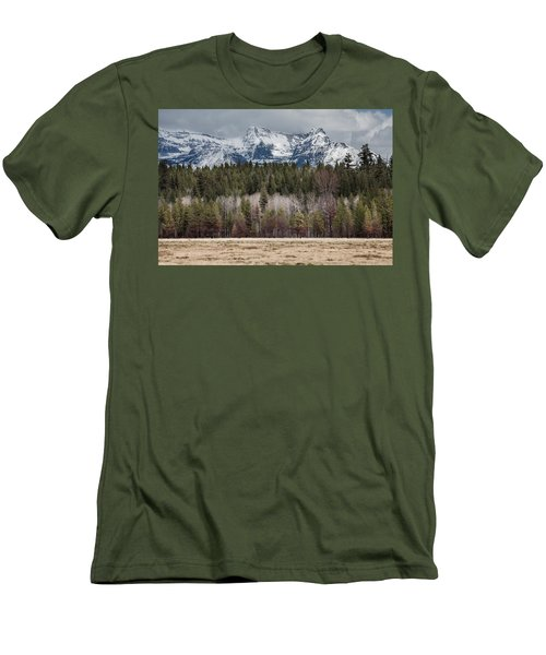 Men's T-Shirt (Athletic Fit) featuring the photograph Glacier National Park Peaks by Fran Riley