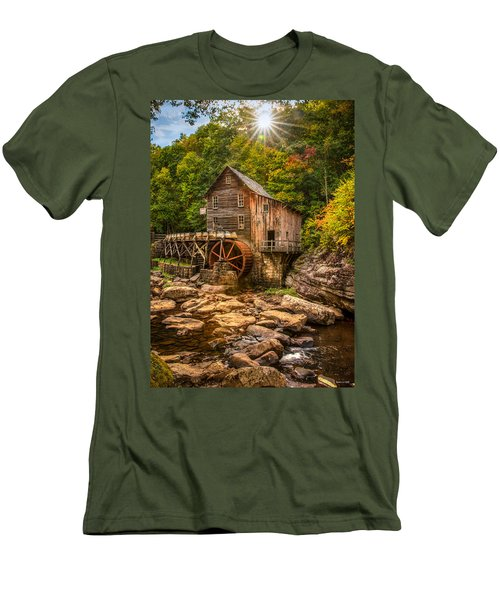 Men's T-Shirt (Slim Fit) featuring the photograph Glade Creek Mill Fall by Rebecca Hiatt