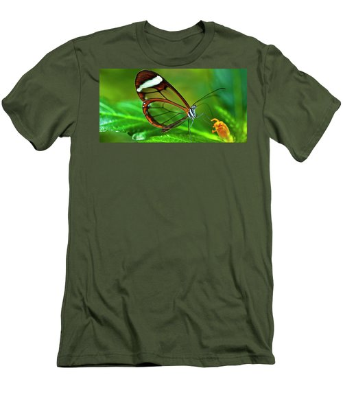 Men's T-Shirt (Slim Fit) featuring the photograph Glasswinged Butterfly by Ralph A Ledergerber