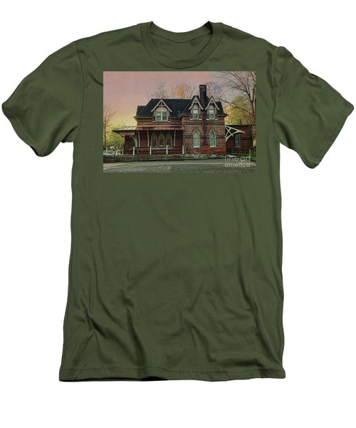 Men's T-Shirt (Slim Fit) featuring the photograph Glen Mill Train Station by Judy Wolinsky
