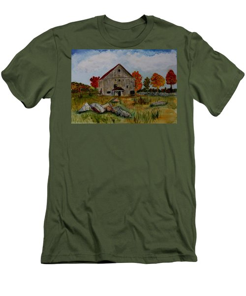 Men's T-Shirt (Slim Fit) featuring the painting Glover Barn In Autumn by Donna Walsh