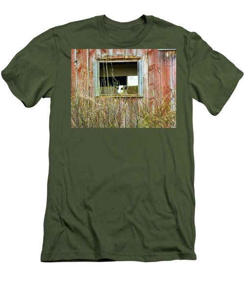 Men's T-Shirt (Slim Fit) featuring the photograph Goat In The Window by Donald C Morgan
