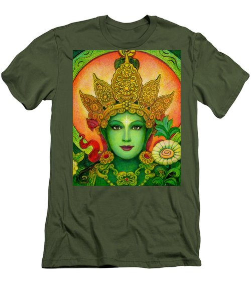 Men's T-Shirt (Slim Fit) featuring the painting Goddess Green Tara's Face by Sue Halstenberg