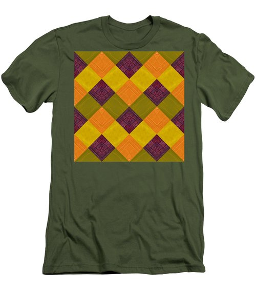 Men's T-Shirt (Slim Fit) featuring the painting Gold And Green With Orange 2.0 by Michelle Calkins