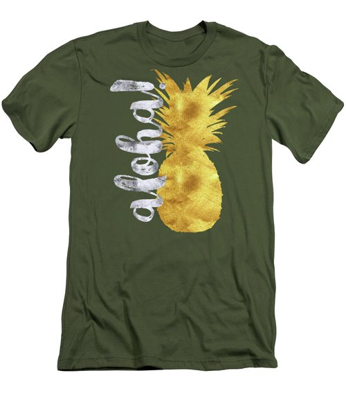 Gold And Silver Aloha Pineapple Tropical Fruit Of Hawaii Men's T-Shirt (Athletic Fit)