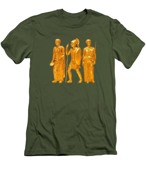 Gold Covered Greek Figures Men's T-Shirt (Slim Fit) by Linda Phelps