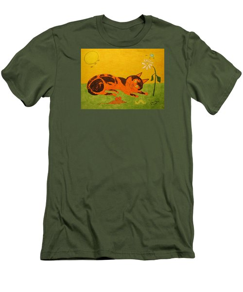 Golden Cat Reclining Men's T-Shirt (Athletic Fit)