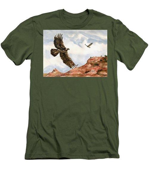 Golden Eagles In Fligh Men's T-Shirt (Slim Fit) by Sam Sidders