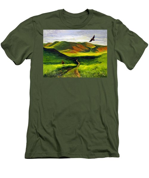 Men's T-Shirt (Slim Fit) featuring the painting Golden Eagles On Green Grassland by Suzanne McKee
