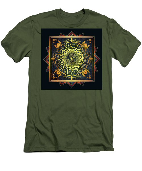 Men's T-Shirt (Slim Fit) featuring the drawing Golden Filigree Mandala by Deborah Smith