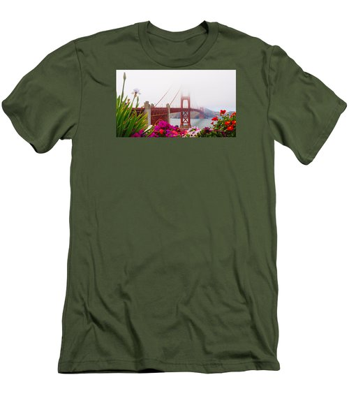 Golden Gate Bridge Flowers 2 Men's T-Shirt (Athletic Fit)