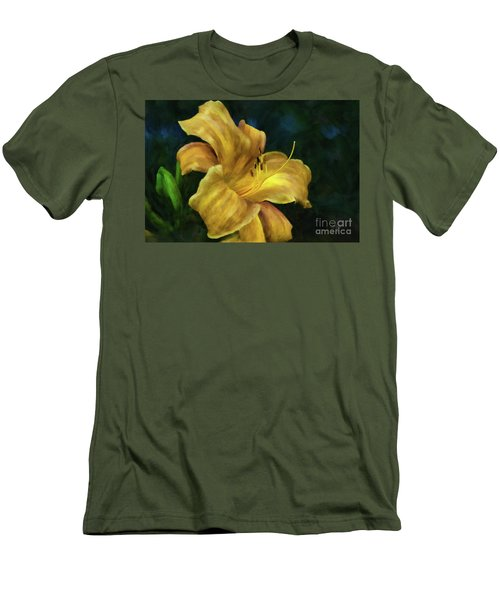 Men's T-Shirt (Athletic Fit) featuring the digital art Golden Lily by Lois Bryan
