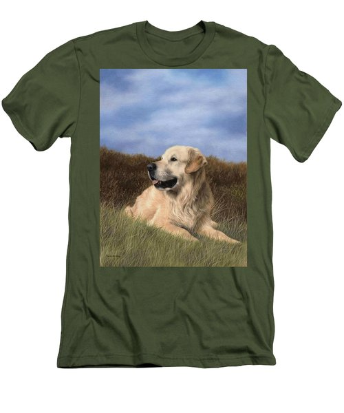 Golden Retriever Painting Men's T-Shirt (Athletic Fit)