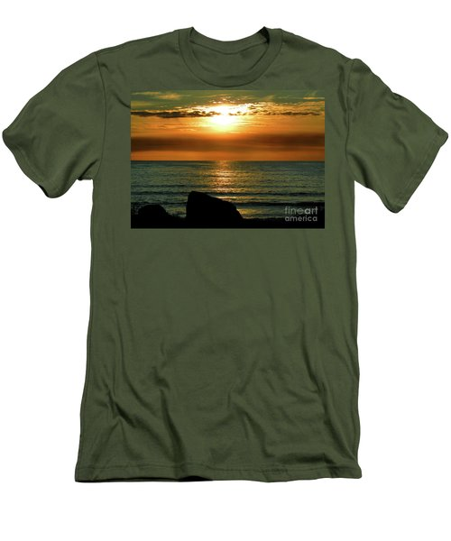 Men's T-Shirt (Slim Fit) featuring the photograph Golden Sunset At The Beach IIi by Mariola Bitner