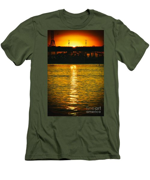 Men's T-Shirt (Slim Fit) featuring the photograph Golden Sunset Behind Bridge by Mariola Bitner
