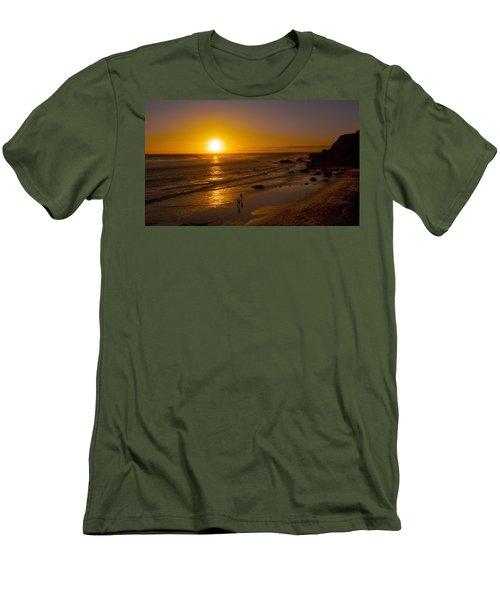 Men's T-Shirt (Slim Fit) featuring the photograph Golden Sunset Walk On Malibu Beach by Jerry Cowart