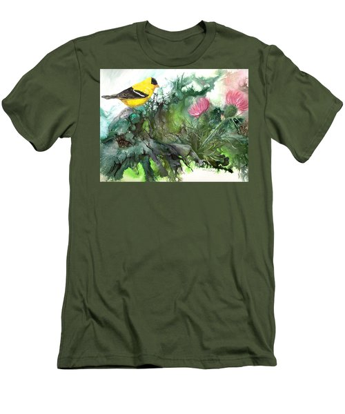 Men's T-Shirt (Slim Fit) featuring the painting Goldfinch by Sherry Shipley