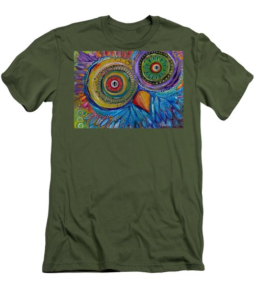 Googly-eyed Owl Men's T-Shirt (Slim Fit) by Tanielle Childers