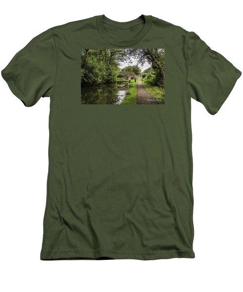 Goytre Wharf  Bridge Men's T-Shirt (Slim Fit) by Steve Purnell