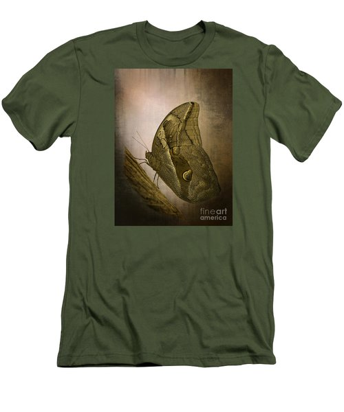 Men's T-Shirt (Slim Fit) featuring the photograph Graffic Owl Butterfly by Inge Riis McDonald