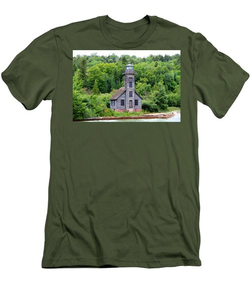 Men's T-Shirt (Slim Fit) featuring the photograph Grand Island East Channel Lighthouse #6549 by Mark J Seefeldt