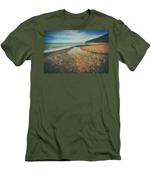Men's T-Shirt (Slim Fit) featuring the photograph Grant Park - Lake Michigan Beach by Jennifer Rondinelli Reilly - Fine Art Photography