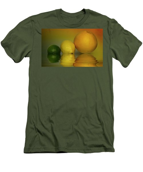 Men's T-Shirt (Slim Fit) featuring the photograph Grapefruit Lemon And Lime Citrus Fruit by David French