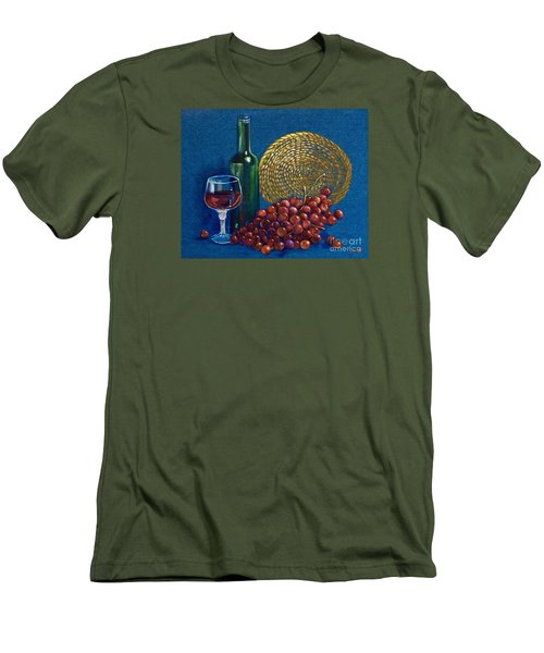 Men's T-Shirt (Slim Fit) featuring the painting Grapes And Wine by AnnaJo Vahle
