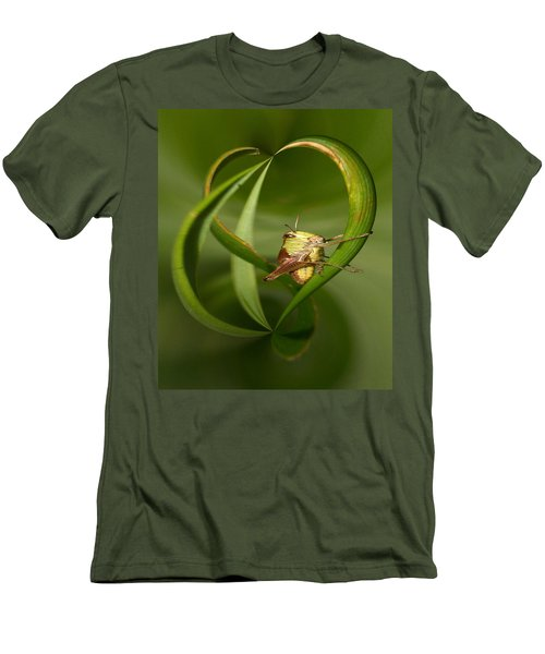 Men's T-Shirt (Slim Fit) featuring the photograph Grasshopper by Jouko Lehto